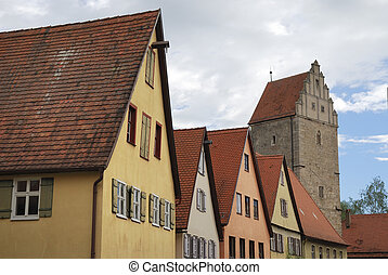Dinkelsbhl - Tower and old houses in Dinkelsbhl...