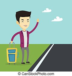 Young man hitchhiking vector illustration. - Young asian man...