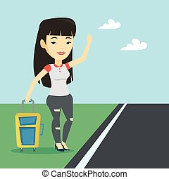 Young woman hitchhiking vector illustration. - Young asian...