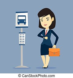 Woman waiting at the bus stop vector illustration.