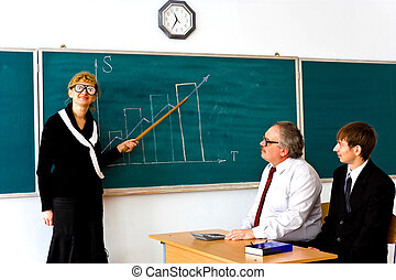 Droll lecturer - Farcical scene in the classroom
