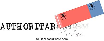 Eraser erases the word authoritarianism - Negative human...