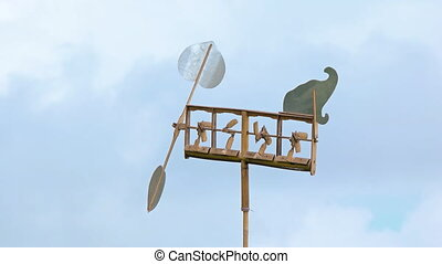 Improvised Weathervane with Wind Powered Bamboo Chimes -...