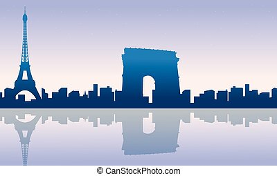 Paris city skyline silhouettes background