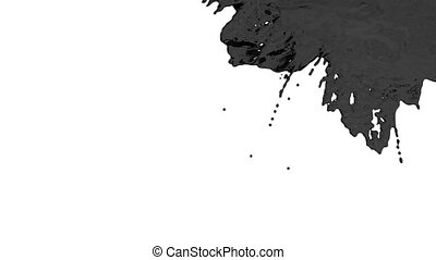 stream of black paint or oil falling on white background - screen and dripping down over white. 3d render with alpha mask for background, transition or overlays. Version 2