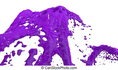 Beautiful fountain violet liquid splash, fountain 3d on white background with alpha matte. Many paint streams rising high. 3d with very high detail. Version 5
