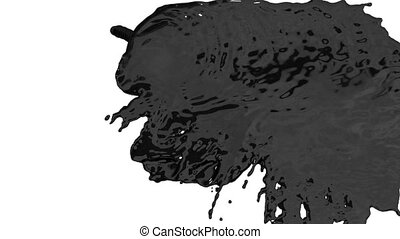 stream of black paint or oil falling on white background -...