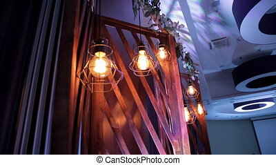 Wooden decoration with flowers of wall in restaurant....