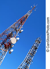 Telecommunication towers - Two telecommunication towers on...