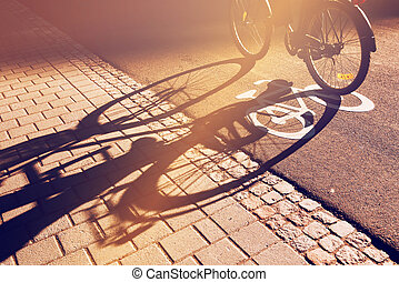 Shadow of unrecognizable cyclist on bicycle lane - Shadow of...