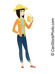 Farmer drinking beer vector illustration. - Cheerful asian...