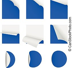 sticky note  papers with page curl Set of blank paper sheets round and square