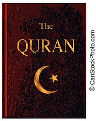 Red Bound Quran - The front cover of The Quran over a white...