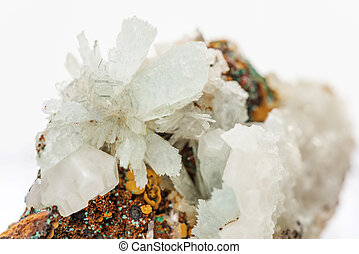 Crystals of hemimorphite on the matrix - Beautiful druse of...