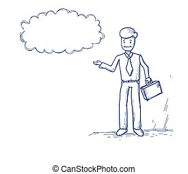 Business Man Ponder Thinking Cloud Chat Bubble Vector...