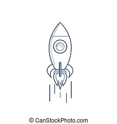 Flying Rocket Business Startup Concept Banner With Copy...
