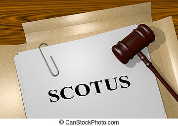 SCOTUS - legal concept - 3D illustration of 'SCOTUS' title...