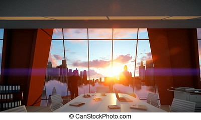 Businessmen in conference room talking on mobile, rear view cityscape at sunset, zoom in