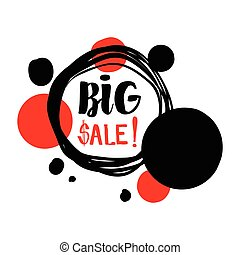 flat design sale stickers. - Flat red and black circle...