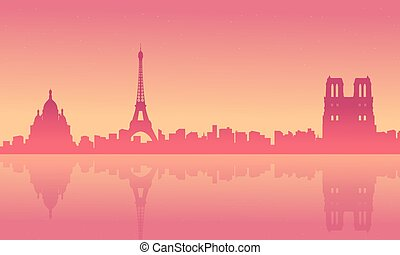 Collection stock of Paris scenery at sunrise silhouettes
