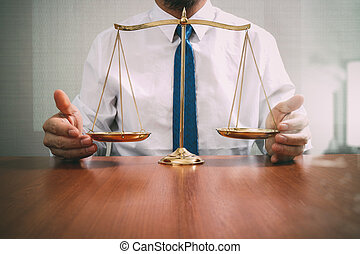 escala, escritório, justiça, conceito, macho, madeira, tabela, refletido, advogado, bronze, lei, vista