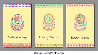 Set of vector Happy Easter background with easter egg, mandalas pattern and tribal geometric borders. Ethnic theme