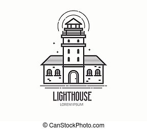 Lighthouse Logo in Thin Line Design