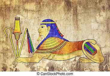 Sfinks, -, mityczny, stworzenie, starożytny, Egipt