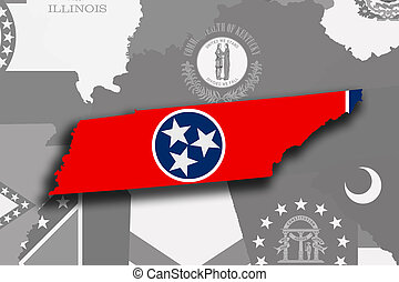 Tennessee map and flag
