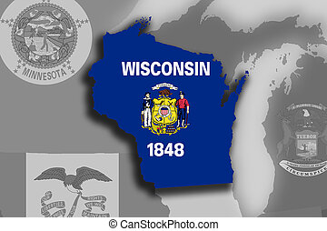 Wisconsin map and flag - Illustration of the State of...