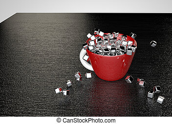 Metal glossy cubes fill the red cup