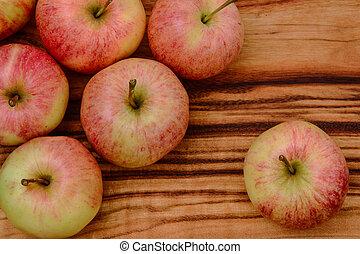 de madera, Primer plano, manzanas, tabla