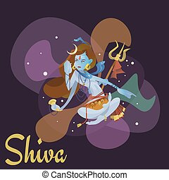 Lord Shiva, indian god in the lotus position and meditate...
