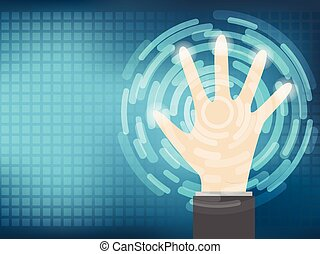 Cyber security Concept  With Hand on Abtract Technology background. Vector illustration