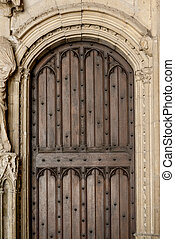 Avignon Papal Palace - Wooden antique door of historic Papal...