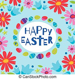 Colorful Happy Easter greeting card with flowers eggs elements composition. Cute Happy Easter greeting card