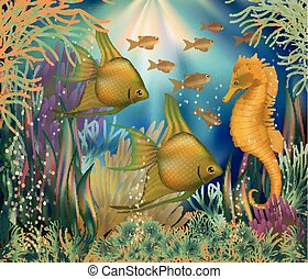 Underwater background with tropical fish, vector...