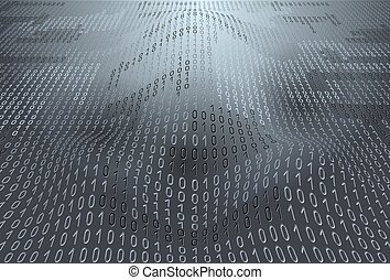 Background with binary code - Binary code on gray background