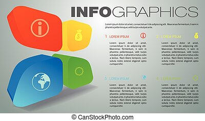Modern colorful infographics options template vector with 3D element on grey background.