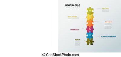 Vector Puzzle Infographic report template - Vector puzzle...