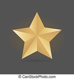 Gold metall star vector illustration. Award 3d shape.