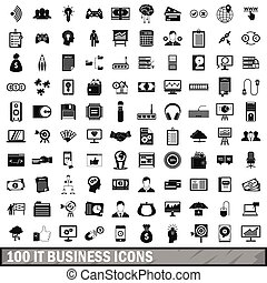 100 IT business icons set, simple style - 100 IT business...