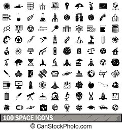 100 space icons set, simple style