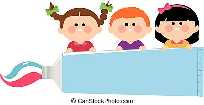 Kids holding a toothpaste. - Vector illustration of children...