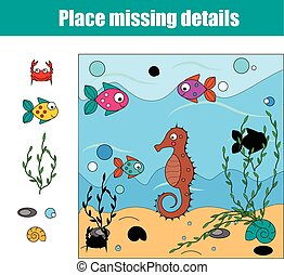 Matching children educational game. Match pieces and complete the picture. Puzzle kids activity
