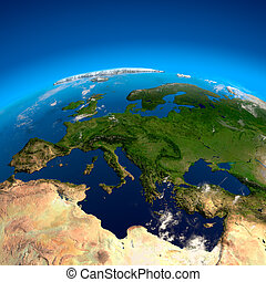 View on Europe from a height of satellites - Spain, France,...