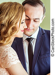 A couple in the registry office - Close up portrait of happy...