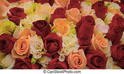Closeup of a Colorful Rose Bouquet. - Closeup of a large and...