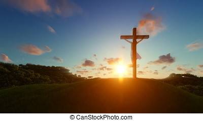 Silhouette of Jesus with Cross over sunset, Luma Matte...