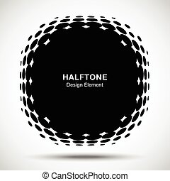 WebConvex distorted black abstract vector circle frame halftone dots logo emblem design element for new technology pattern background. Round border Icon using halftone circle dots raster texture.